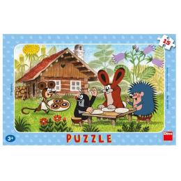 Puzzle deskové Krtek na návštěvě 15 dílků