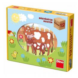 Dino Dřevěné kostky Domácí zvířátka 12ks