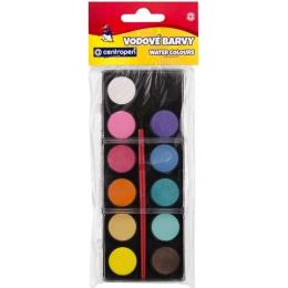 Centropen Barvy vodové 12 odstínů 22 mm černý barevník
